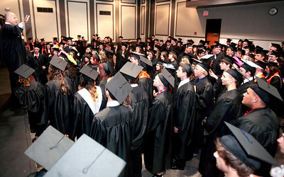 Michelle LaVigne/ For Shaw Media McHenry East High School's principal Eric Blake, gives the graduating class of 2014 a pep talk before heading to the gymnasium for commencement in McHenry on May 15, April 15, 2014. This was Blake's first year as principal at McHenry East.