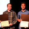 Austin VanAcker of Central High School (left) and Brandon Gadson of Mooseheart High School were recipients of Chronicle Achievement Program scholarships sponsored by the Kane County Chronicle and KCT Credit Union. Laura Vento of Wheaton Academy, also a scholarship recipient, is not pictured. The scholarships were given during the CAP awards ceremony Wednesday at the Fox Valley Repertory in St. Charles. More photos of CAP award winners can be viewed at kcchronicle.com