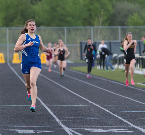 Geneva's Kathryn Adelman crosses the finish line after competing in the 800 meter run during the Metea Valley Girls Track and Field Sectional at Metea Valley High School in Aurora, IL on Thursday, May 15, 2014 (Sean King for Shaw Media)