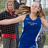 St. Charles North's Lizzy Olsem competes in disc throw during the Metea Valley Girls Track and Field Sectional<br /> at Metea Valley High School in Aurora, IL on Thursday, May 15, 2014 (Sean King for Shaw Media)