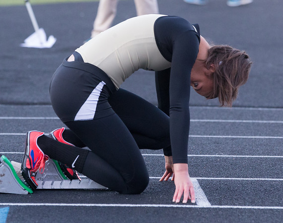 Glenbard North's Simone Carr takes the starting block before the 400 meter run during the Metea Valley Girls Track and Field Sectional at Metea Valley High School in Aurora, IL on Thursday, May 15, 2014 (Sean King for Shaw Media)