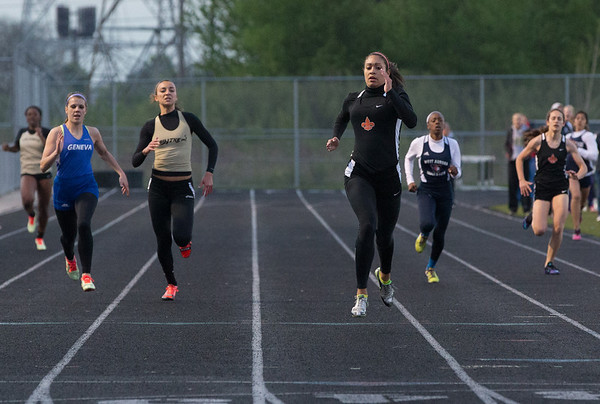 St.Charles East's Jordan Shead takes the lead during her 400 meter heat at the Metea Valley Girls Track and Field Sectional at Metea Valley High School in Aurora, IL on Thursday, May 15, 2014 (Sean King for Shaw Media)