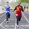 Batavia's Hanna Schlaman smiles as she takes first place in the 100 meter dash during the Metea Valley Girls Track and Field Sectional at Metea Valley High School in Aurora, IL on Thursday, May 15, 2014 (Sean King for Shaw Media)