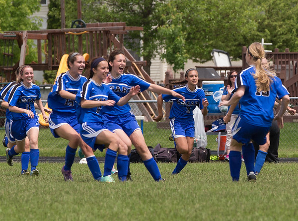 Rosary players rush the field to congratulate Maria Witte (13) on her winning penalty kick which was the winning goal against  Kaneland during the Rosary Girls 2A Regional Final at Rosary High School in Aurora, IL on Saturday, May 24, 2014 (Sean King for Shaw Media)