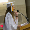 Geneva High School graduate and Senior Class Speaker Emily Wrenn talks to the crowd during the school's commencement ceremony at Geneva High School in Geneva, IL on Sunday, May 25, 2014 (Sean King for Shaw Media)