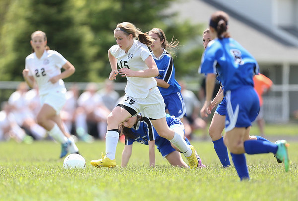 Kaneland's Brittany Olson (15) kicks the ball of the field against Rosary during the Rosary Girls 2A Regional Final<br /> at Rosary High School in Aurora, IL on Saturday, May 24, 2014 (Sean King for Shaw Media)