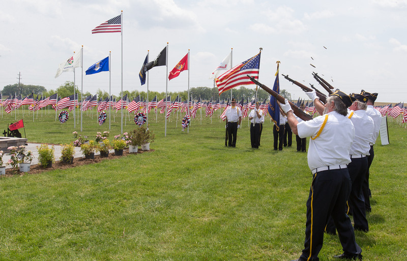 Members of the Maple Park American Legion perform a Volley Salute during the Healing Field Memorial Day Ceremony at Kaneland High School in Maple Park, IL on Monday,May 26, 2014 (Sean King for Shaw Media)