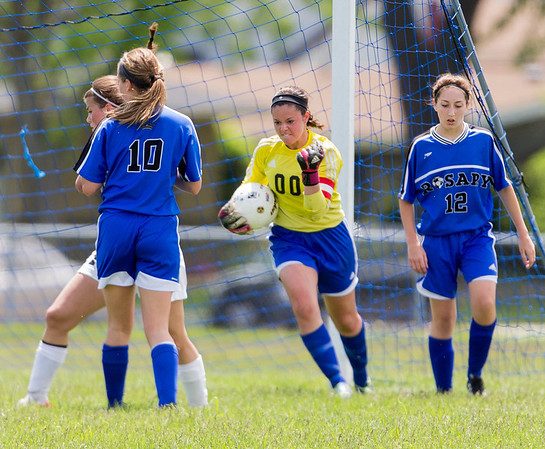 Rosary's Lauren Frasca (00) reacts after successfully defending the goal against Kaneland during the Rosary Girls 2A Regional Final at Rosary High School in Aurora, IL on Saturday, May 24, 2014 (Sean King for Shaw Media)