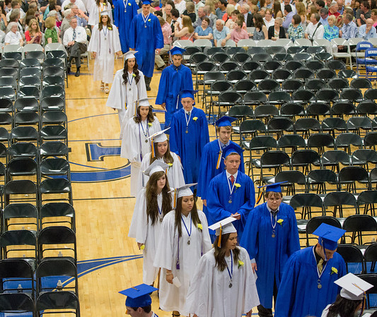 Geneva High School graduates make their way into the gym during the school's commencement ceremony at Geneva High School in Geneva, IL on Sunday, May 25, 2014 (Sean King for Shaw Media)