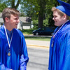 Geneva High School graduates Beck Dmitri Nebergall (Left) and Jake Patrick Andersen talk about being nervous prior to the school's commencement ceremony at Geneva High School in Geneva, IL on Sunday, May 25, 2014 (Sean King for Shaw Media)
