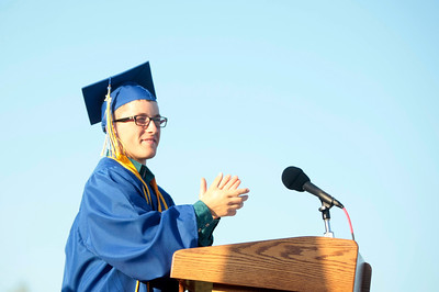 Michelle LaVigne/ For Shaw Media Ian Nykaza delivers the introduction of valedictorian, starting with a thank-you to the parents during the Johnsburg High School graduation ceremony in Johnsburg on May 30, 2104