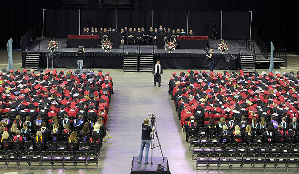 Jeff Krage – For Shaw Media Huntley graduate Kyle Sommerfield walks back to his seat after delivering the Salutatorian Address during Saturday's graduation ceremonies at the Sears Centre in Hoffman Estates. Hoffman Estates 5/31/14