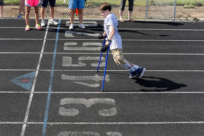 Zachary  Simons,15, of Huntley, races in the 25meter dash during the 7th annual Run and Roll Track Meet at McKraken field in McHenry.