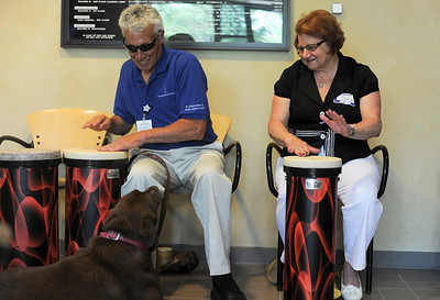 Terry Drucker, of McHenry, and Lynne Kushner, of Woodstock, play the drums together while Drucker's Chocolate Lab, Madison, watches during the Cancer Surviors day at Centegra Sage Center in McHenry.