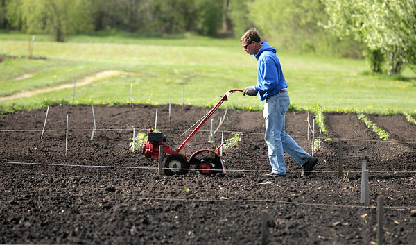 H. Rick Bamman - hbamman@shawmedia.com Urban farmer Andy Snarski tills 40' by 20' garden plots Friday, April 6, 2016,  for his neighbors and friends at the Hill Farm Acres community garden on Barlina Road in Crystal Lake. Snarski has already planted peppers, radishes, lettuce, carrots. lima beans and tomatoes.
