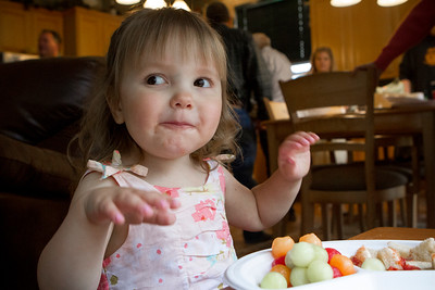 Mike Greene - For Shaw Media  Danielle Bockman enjoys her watermelon during a celebration of her 3rd birthday and the 2-year anniversary of receiving a heart transplant Saturday, May 14, 2016 in Algonquin.