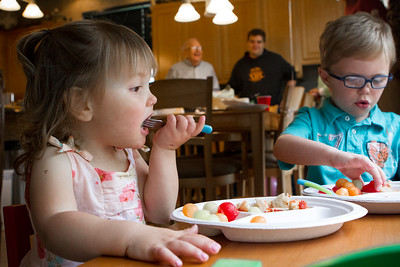 Mike Greene - For Shaw Media  Danielle Bockman eats with her brother Jack, 5, during a celebration of her 3rd birthday and the 2-year anniversary of receiving a heart transplant Saturday, May 14, 2016 in Algonquin.