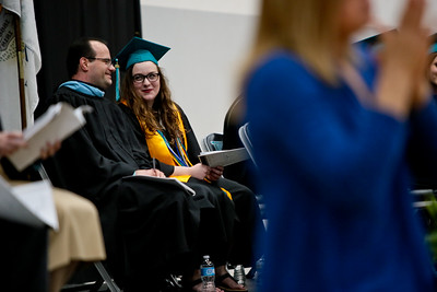 Michelle LaVigne/ For Shaw Media Woodstock North High School's student council president Annalee Bartlett chats with principle Brian McAdow during Woodstock North's High School Graduation ceremony.
