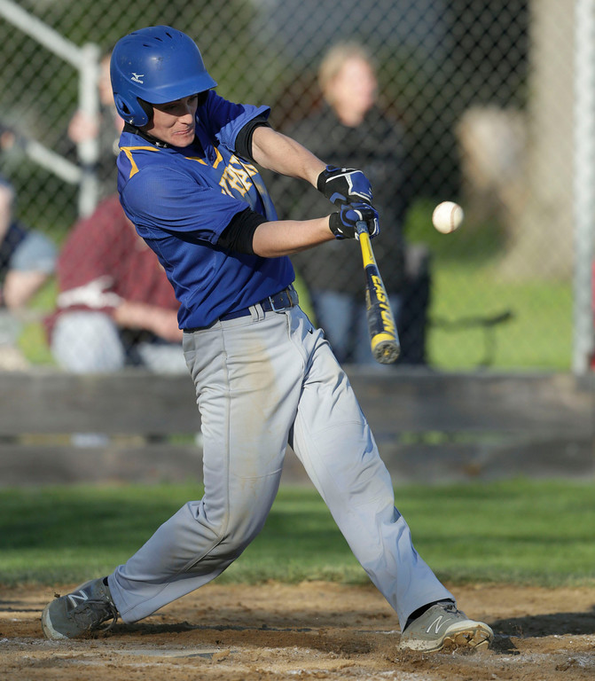 Luc Lindal (7) of Johnsburg gets a hit during the sixth inning of their game against Johnsburg at Tigers Field on Monday, May 2, 2016 in Johnsburg, Illinois.<br /> <br /> John Konstantaras photo for the Northwest Herald
