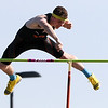 St. Charles East's Colton Weber takes first place in the pole vault during the 3A sectional track and field meet at Metea Valley High School in Aurora May 19.