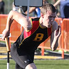 Batavia's Jordan Burkhaug competes in the 4x100 meter relay during the 3A sectional track and field meet at Metea Valley High School in Aurora May 19.
