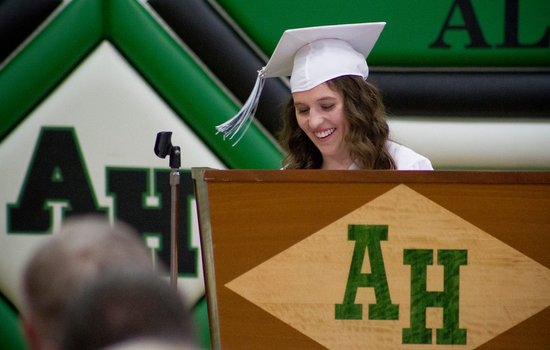 Mike Greene - For Shaw Media  Hannah Warren smiles while presenting the salutatorian address during graduation ceremonies for Alden Hebron High School Sunday, May 22, 2016 in Hebron.