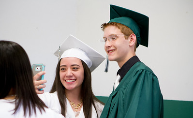 Mike Greene - For Shaw Media  Karen Castaneda and Tom Kruse take a selfie before the start of graduation ceremonies for Alden Hebron High School Sunday, May 22, 2016 in Hebron.