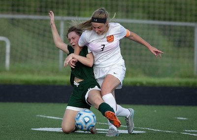Courtney Sengstock (9) from Crystal Lake Southis fouled by McKaela Schmelzer (3) from Harlem during the second half of their Streamwood Class 3A Girls Soccer Sectional on Thursday, May 26, 2016 in Streamwood, Illinois. The Gators won the game 2-0.  John Konstantaras photo for the Northwest Herald