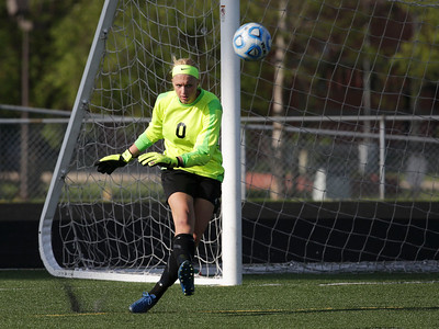 Goalie Annika Sevcik (0) from Crystal Lake South puts the ball in play during the second half of their game against Harlem during the Streamwood Class 3A Girls Soccer Sectional on Thursday, May 26, 2016 in Streamwood, Illinois. The Gators won the game 2-0.  John Konstantaras photo for the Northwest Herald