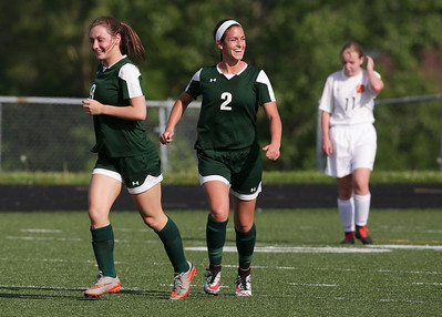 Katherine Siavelis (2) from Crystal Lake South is all smiles after her goal during the second half of their game against Harlem during the Streamwood Class 3A Girls Soccer Sectional on Thursday, May 26, 2016 in Streamwood, Illinois. The Gators won the game 2-0.  John Konstantaras photo for the Northwest Herald
