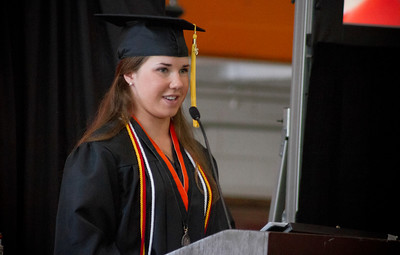 Mike Greene - For Shaw Media  Amy Walsh delivers the welcome address during graduation ceremonies for Crystal Lake Central Saturday, May 28, 2016 in Crystal Lake.