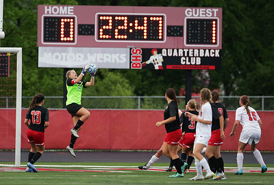 Goalie Paige Renkosik (0) of Huntley makes a save during the second half of their Supersectional game against Barrington on Tuesday, May 31, 2016 in Barrington. The Red Raiders won the game 1-0.  John Konstantaras photo for the Northwest Herald