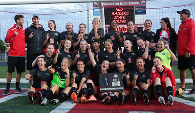 State bound Huntley players pose for a team photo after beating Barringotn in their Supersectional game on Tuesday, May 31, 2016 in Barrington. The Red Raiders won the game 1-0.  John Konstantaras photo for the Northwest Herald