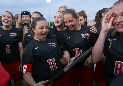 Taryn Jakubowski (11) of Huntley and her teammates celebrate with their Supersectional championship plaque after beating Barrington 1-0 on Tuesday, May 31, 2016 in Barrington.   John Konstantaras photo for the Northwest Herald