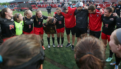 Huntley head coach Kris Grabner huddle with his team after beating Barrington 1-0 in their Supersectional game on Tuesday, May 31, 2016 in Barrington.   John Konstantaras photo for the Northwest Herald