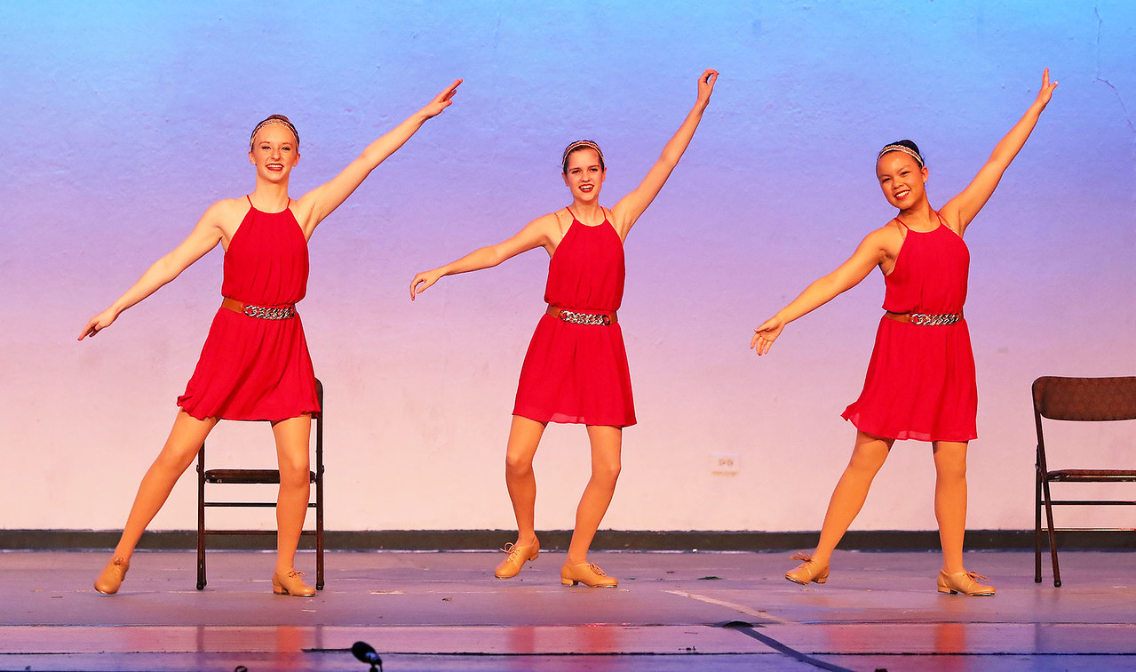 """Candace H. Johnson Claire Whitemarsh, Allison Nick and Sommer Ray, all from Mundelein dance to the song, """"Honey I'm Good"""" during the Mundelein's Got Talent dance recital presented by the Mundelein Park District at Mundelein High School."""