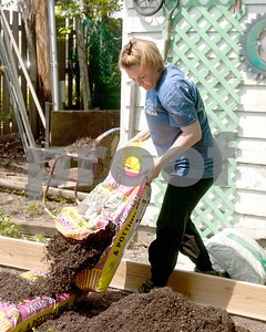 Renee Wunder of Carol Stream empty's a few bags of potting soil for a garden that was built on Saturday. David Toney for Shaw Media