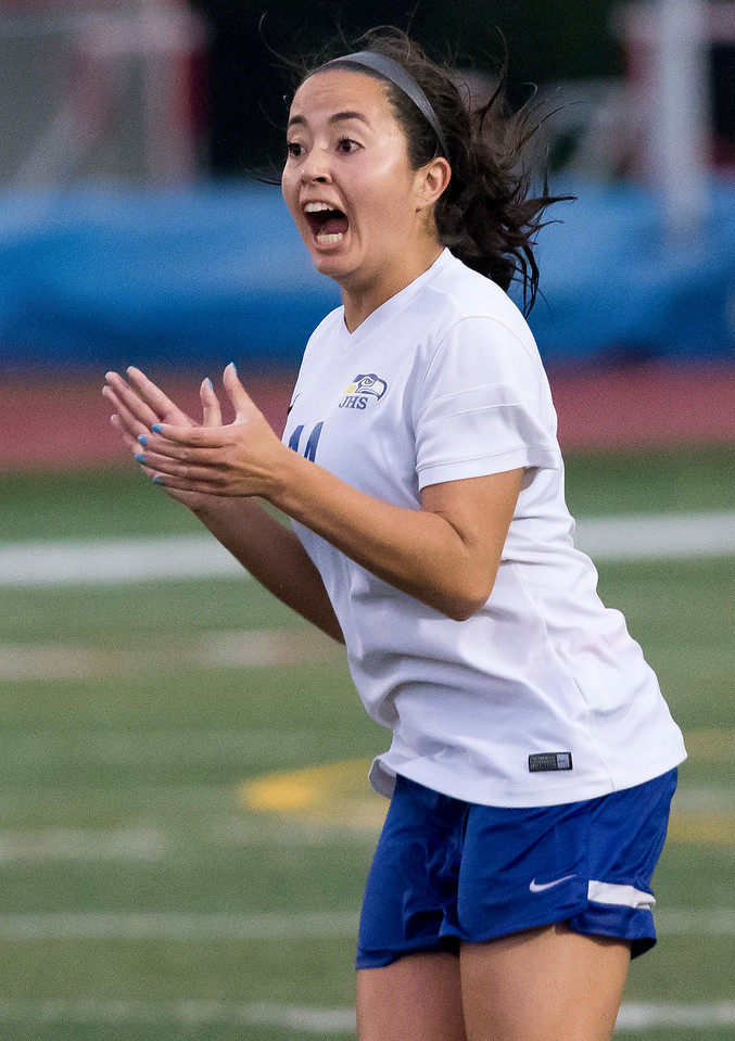 Sarah Nader - snader@shawmedia.com Johnsburg's Amber Humphres celebrates a goal she made during the second half of Friday's 1A state semifinal game against University High School May 26, 2017 at North Central College in Naperville. Johnsburg lost 3-2.