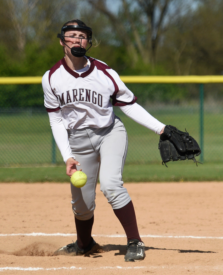 Kayla Wolf for Shaw Media- Marengo junior Riley Connell pitches Saturday, May 6, 2017 at a home game. Marengo won 13 to 1 against Bartlett.