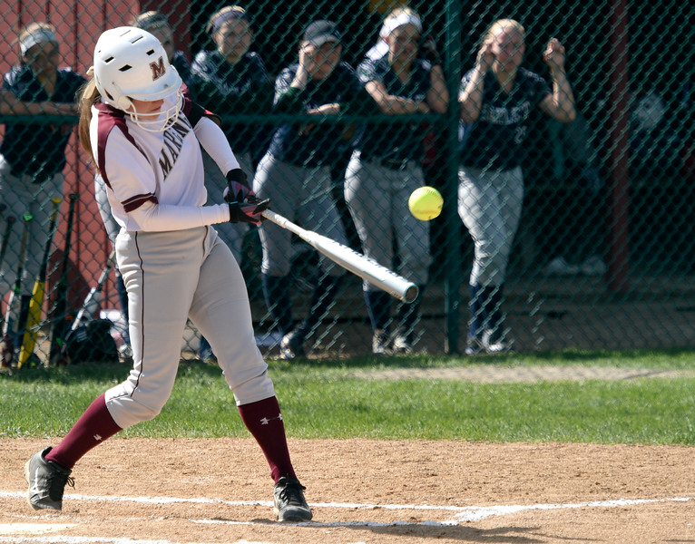Kayla Wolf for Shaw Media- Marengo sophomore Lauren Aubry hits the ball Saturday, May 6, 2017 during a tournament hosted at Marengo High School. Marengo won over Bartlett 13 to 1.