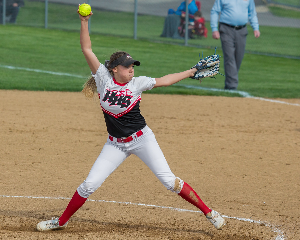 Huntley's Tiffany Giese pitches a complete shut-out game against Jacobs Wednesday, May 3, 2017 at Jacobs High School in Algonquin. Huntley went on to win 10-0. KKoontz – For Shaw Media