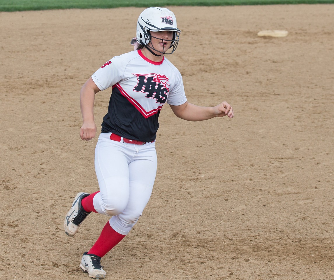 Huntley's Sofia Tenuta trots around third after belting a two-run home run against Jacobs, Wednesday, May 3, 2017 at Jacobs High School in Algonquin. Huntley went on to win 10-0. KKoontz – For Shaw Media