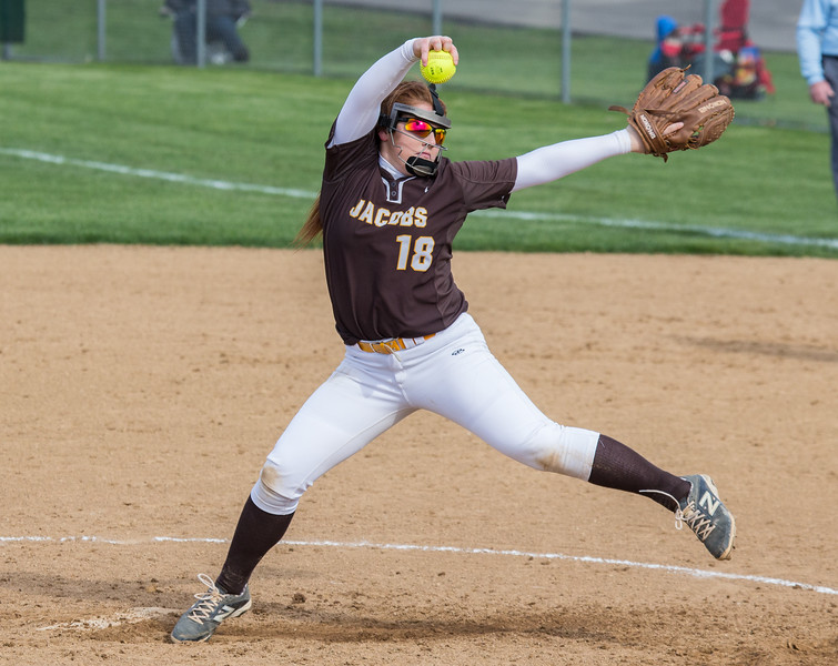 Jacobs High School softball pitcher Savannah Svedman winds up against Huntley Wednesday, May 3, 2017 at Jacobs High School in Algonquin. Huntley went on to win 10-0. KKoontz – For Shaw Media