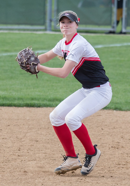 Huntley shortstop Autumn Kasal fields the ball cleanly for the final out of the game Wednesday, May 3, 2017 at Jacobs High School in Algonquin. Huntley wins, 10-0. KKoontz – For Shaw Media