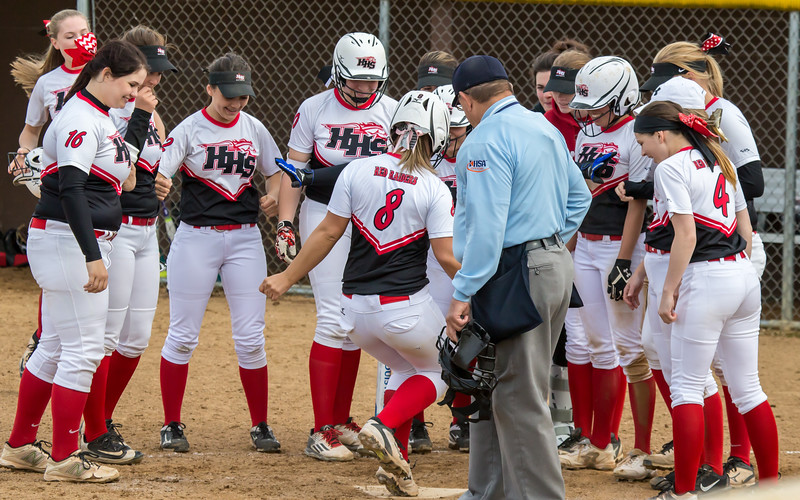 Teammates prepare to celebrate Huntley's Sofia Tenuta's (8) two-run homer against Jacobs, Wednesday, May 3, 2017 at Jacobs High School in Algonquin. Huntley went on to win 10-0. KKoontz – For Shaw Media