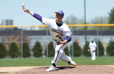 Alex Marro (20) of MCC delivers a pitch during their game against Carl Sandburg College at McHenry County College on Sunday, May 7, 2017 in Crystal Lake, Ill. The Scots won the game 5-2. | John Konstantaras photo for the Northwest Herald