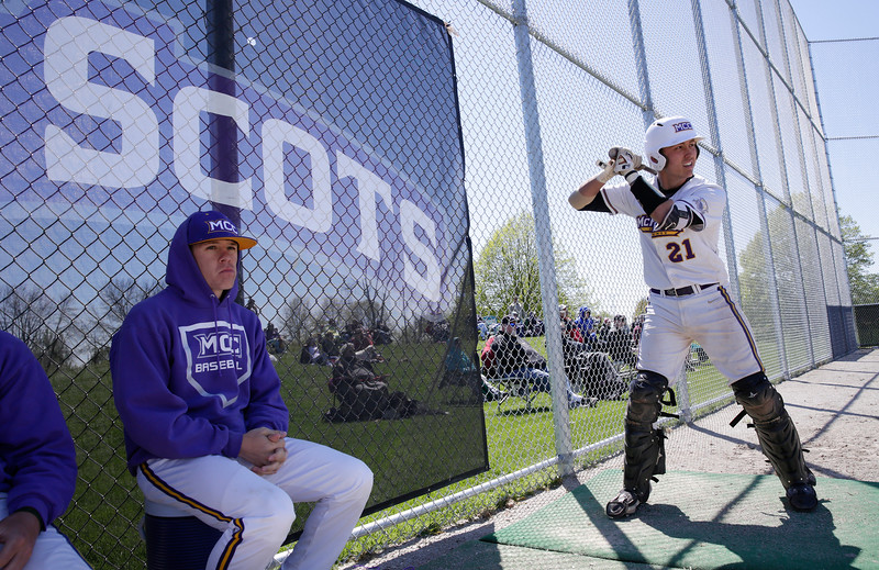 Wyatt Mascarella (21) of MCC on deck during their game against Carl Sandburg College at McHenry County College on Sunday, May 7, 2017 in Crystal Lake, Ill. The Scots won the game 5-2. | John Konstantaras photo for the Northwest Herald