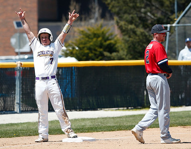 Alex Crimaroli (7) of MCC celebrates a RBI triple during the second inning of their game against Carl Sandburg College at McHenry County College on Sunday, May 7, 2017 in Crystal Lake, Ill. The Scots won the game 5-2. | John Konstantaras photo for the Northwest Herald