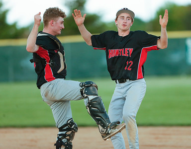 Joe Rizzo (left) and Christopher Costantino (12) from Huntley celebrate after beating Crystal Lake South 2-0 at Crystal Lake South on Monday, May 15, 2017 in Crystal Lake.  | John Konstantaras photo for the Northwest Herald