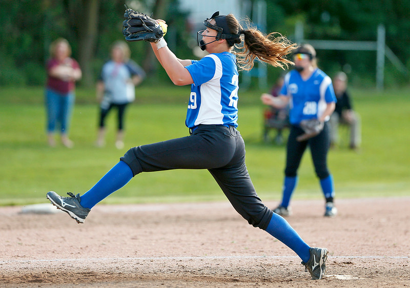 Jocelyn Eisenmenger (29) from Woodstock delivers a pitch during their game against Richmond-Burton on Thursday, May 18, 2017 in Richmond. The Rockets defeated the Blue Streaks 12-2 in 5 innings. John Konstantaras photo for the Northwest Herald
